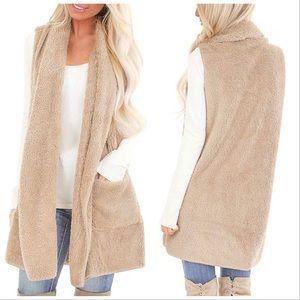 SHERPA Faux Fur Long Fluffy Vest Toffee Beige M/L